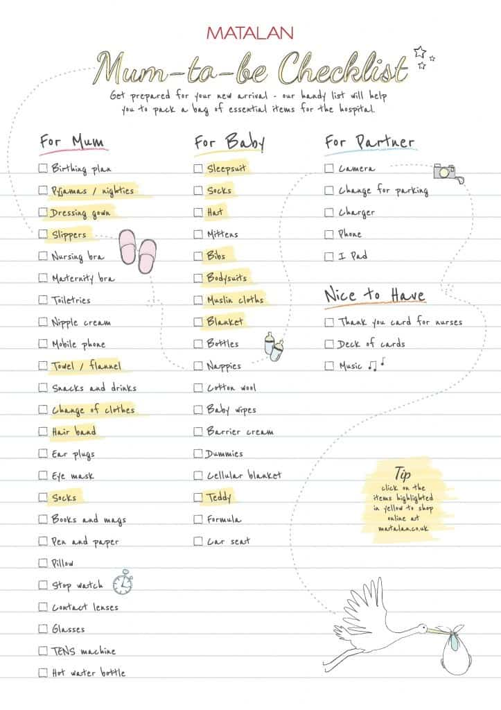 maternity hospital bag checklist pdf