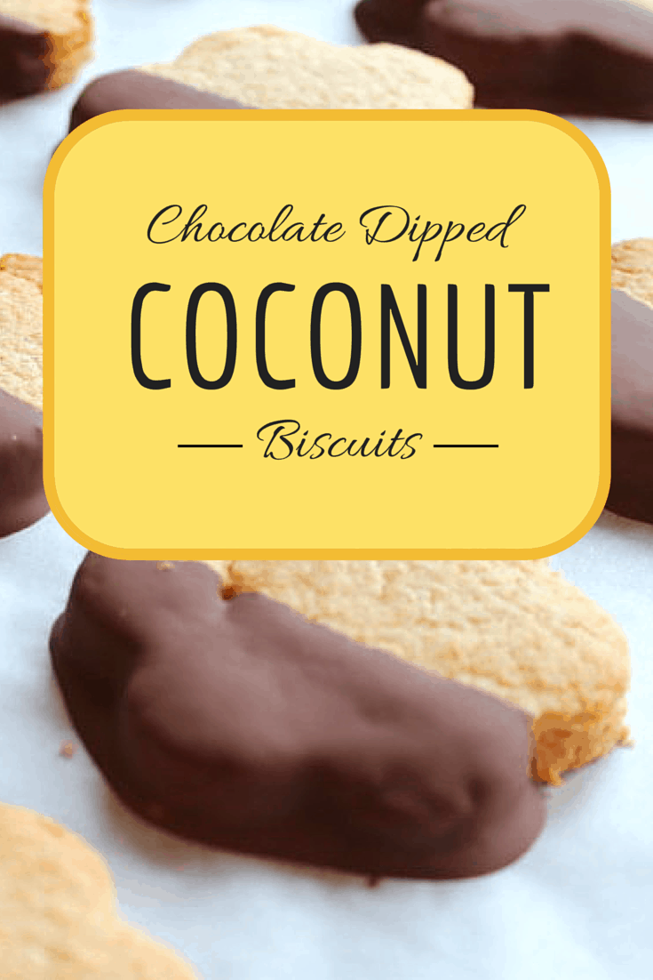 Chocolate Dipped Coconut Biscuits Recipe