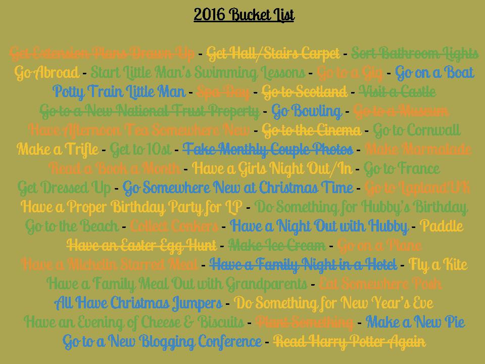Bucket List 2016