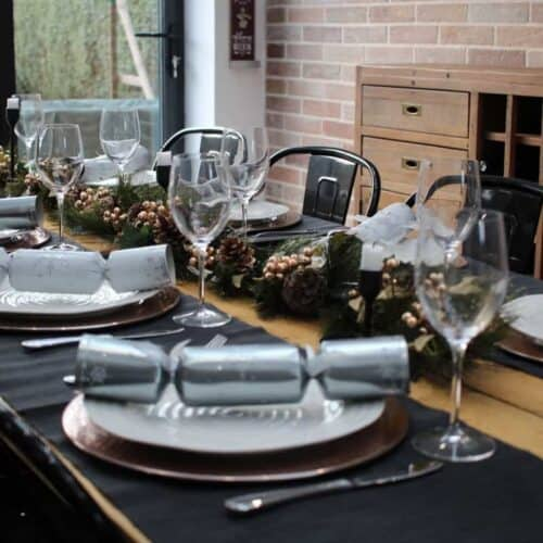 A Christmas Table Setting with an Industrial Vibe