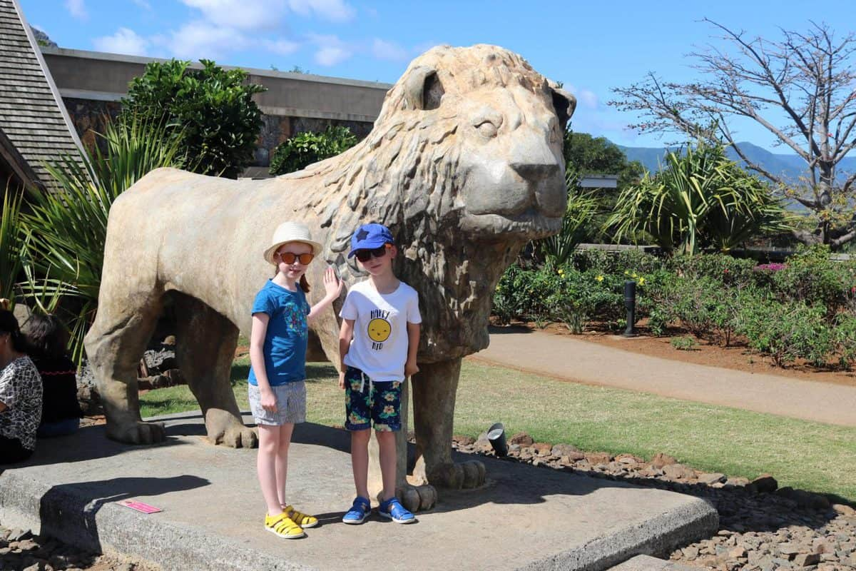 A Day at Casela World of Adventures - Mauritius lion statue