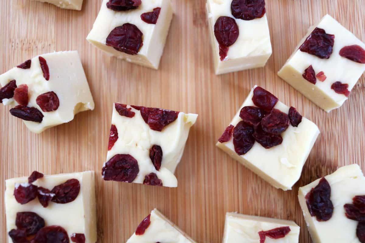 Slow Cooker White Chocolate Fudge Recipe - cranberry fudge pieces