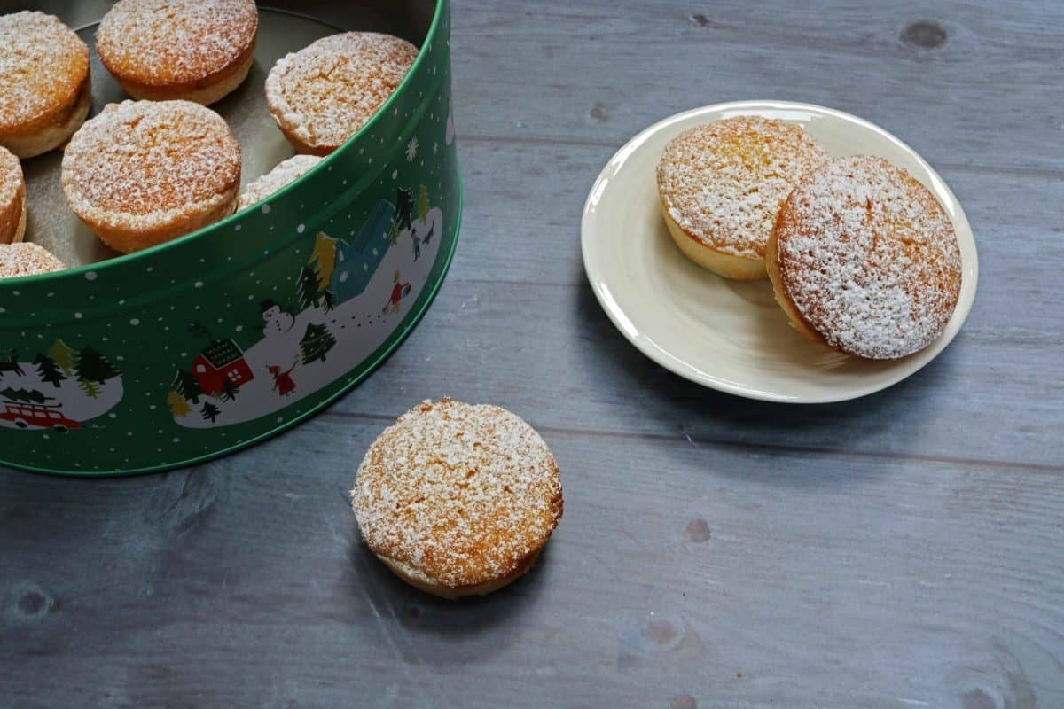 Sponge Topped Mince Pies dusted with icing sugar