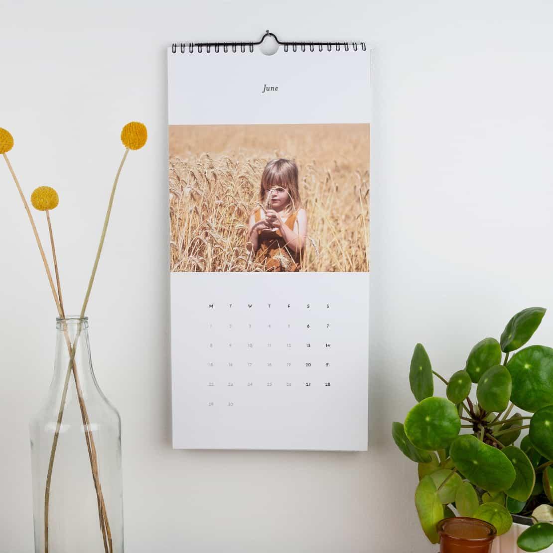 Wall hanging personalised photo calendar from Rosemood