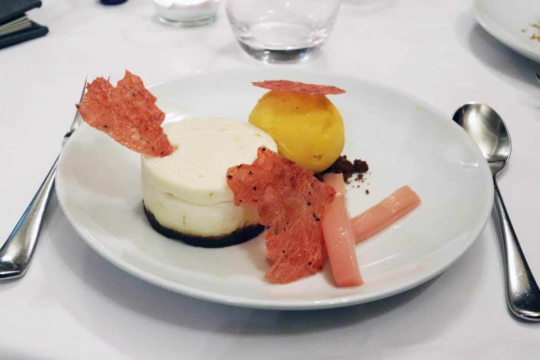 rhubarb and ginger cheesecake at Ettington Park Hotel - Stratford Upon Avon