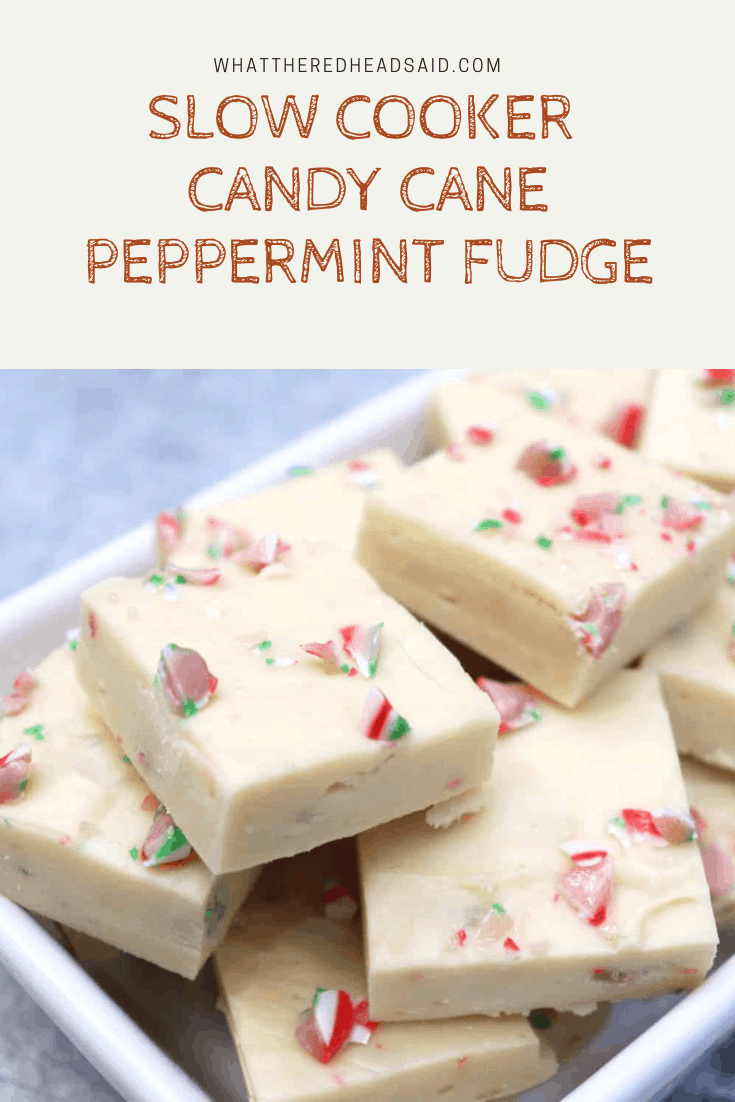 Slow Cooker Candy Cane Peppermint Fudge