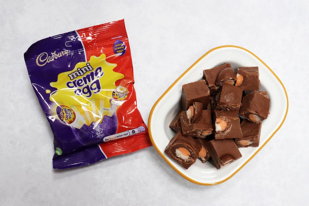 Slow Cooker Cadbury Creme Egg Fudge