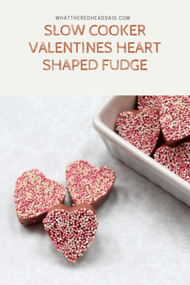 Slow Cooker Valentines Heart Shaped Fudge