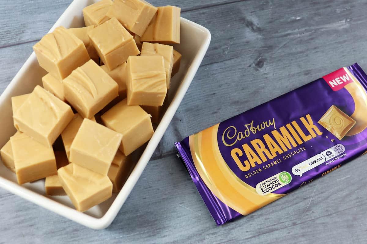 Two Ingredient Cadbury Caramilk Fudge