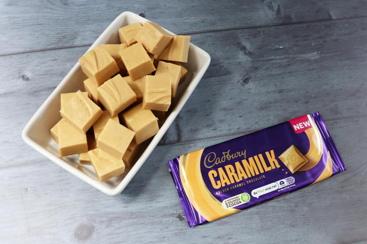 Two Ingredient Slow Cooker Cadbury Caramilk Fudge