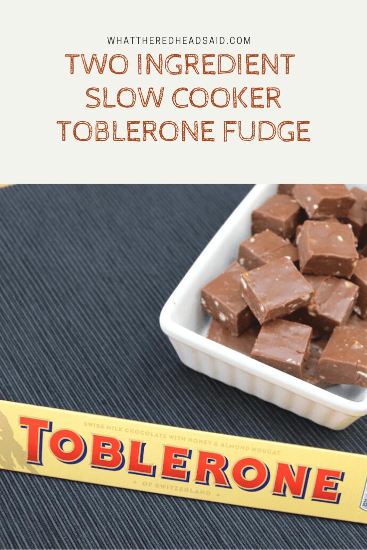 Two Ingredient Slow Cooker Toblerone Fudge